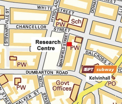 Street map showing location of Research Centre